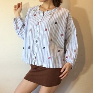 AKEMI + KIM Anthropologie Summer Stripes Blouse